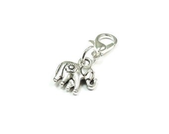 SALE Elephant Zipper Pull Purse Charm Silver Clip On Charms