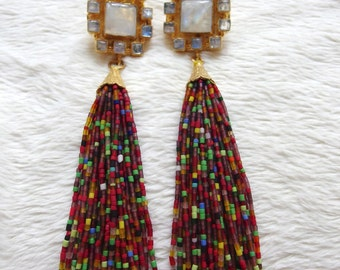 Moonstone Block Stud with Red Fiesta Tassel Earrings