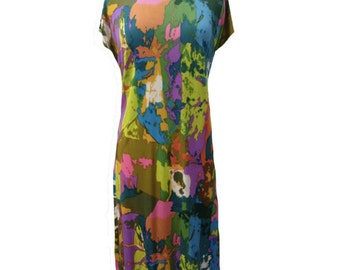1980s multicoloured vintage dress UK 14