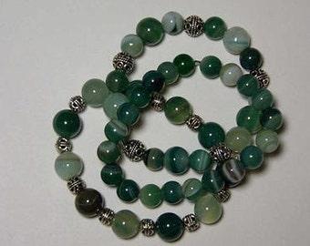 "Cynthia Lynn ""VIRIDESCENT"" Green Stripe Agate Beaded Tibet Silver Stacking Stretch Bracelet Set"
