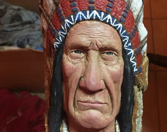 Wood Carving, Native American, Indian Sculpture, Hand Carved, Wood Gift, Wood Spirit, Fine Art, Wall Art, Handmade Woodworking, Gift for Him