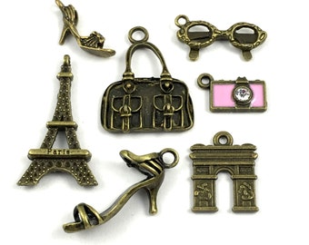 7 shopping in Paris charms collection, bronze tone 15mm to 30mm#ENS B 092