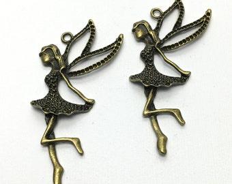 2 fairy pendant bronze tone   75mm# CH 237