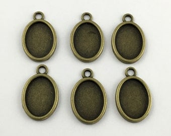 6 base setting pendant for 13mm x 21mm cabochon #FIN 063