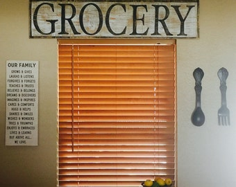 Grocery antiqued wood sign
