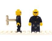 Police / Cop cufflinks. Cufflinks made with LEGO(R) bricks.    Cuff links Cufflink Wedding gift