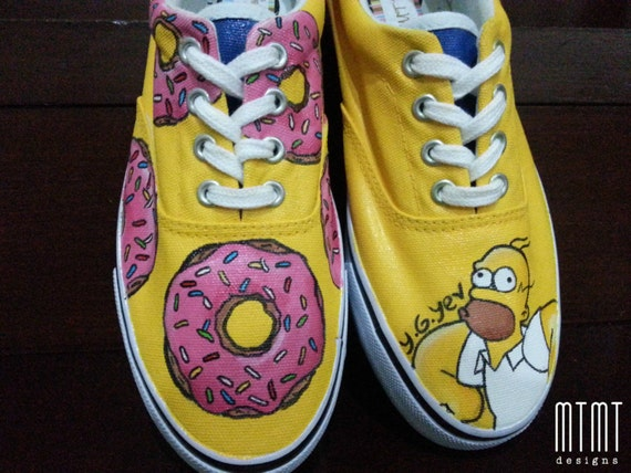 Homer Simpsons Customised Hand Painted Shoes