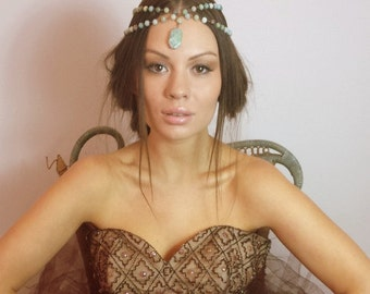AVALON Amazonite crystal healing Headpiece  head chain  hippy  semi precious stones summer Coachella Festival Bohemian
