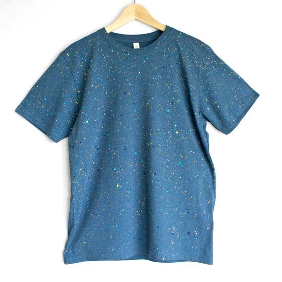BLUE SPECKLE t shirt. 100% organic cotton t-shirt. Hand painted. Blue shirt. Denim blue t-shirts.