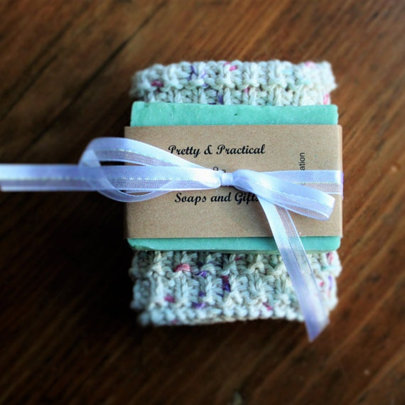 Relaxation Soap and 100% Cotton Washcloth Gift Set, Handmade Soap, Handmade Washcloth, Bath Gift Set