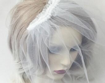 Birdcage veil, Ivory birdcage veil, tulle birdcage veil, pearl birdcage veil, Ivory veil,
