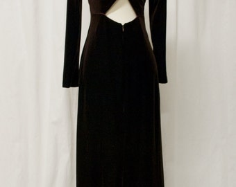 90s vintage. Grunge. Velvet. Brown. Criss Cross. Long. Dress