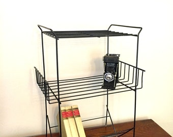 Mid-Century Black Metal Three Tiered Book Shelf or Plant Stand
