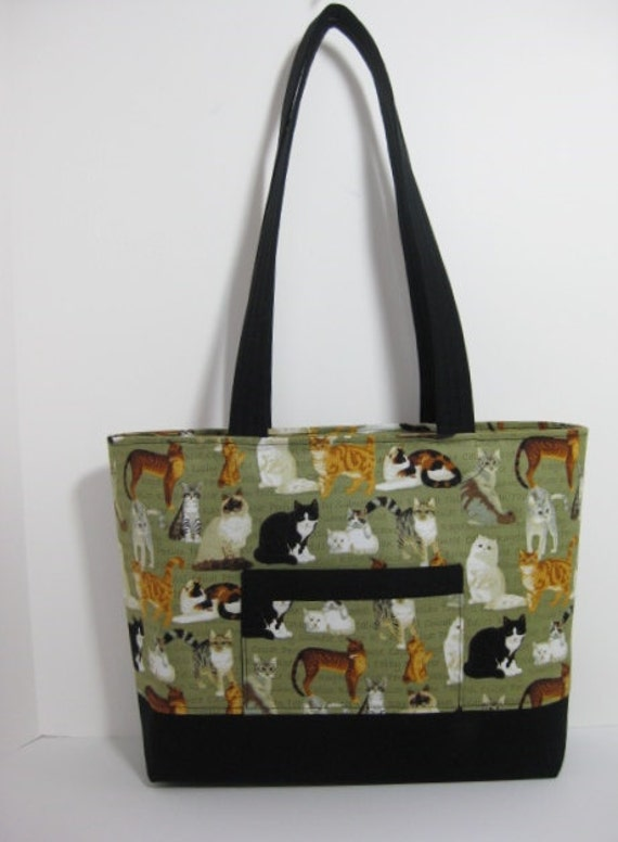 Zippered Knitting Bag : Cat tote bag green zippered knitting