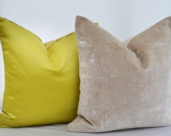 Brown Velvet  Pillow Cover,Sand Velvet Pillow Cover, Beige Velvet Pillow Cover , Cream Velvet Pillow
