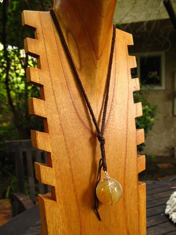 Leather and Yellow Rutilated Quartz Pendant