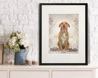 Pit Bull Print - Pit Bull with Flowers - PitBull art print pit bull portrait gift for pit bull lover pittie owner gift dog print dog art