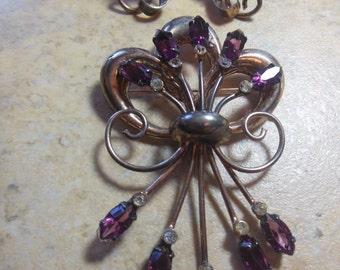 Vintage Sterling Silver ENZELL Pin BROOCH Earrings SET Rhinestone Demi Parure