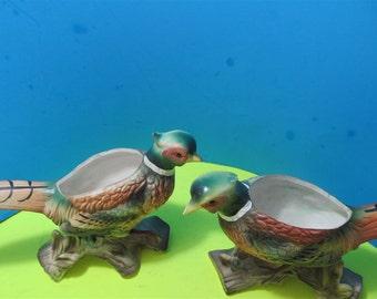 "Vintage ""ENESCO"" Rare Pheasants Figurine Vase Collectible Collector  Japan Birds"