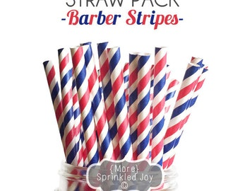 BARBER STRIPES Paper Straws, Party Decor, Cake Pops, Red & Blue, July 4th, Patriotic, Shower, Birthday Baby Shower, Bridal, Wedding, Baby