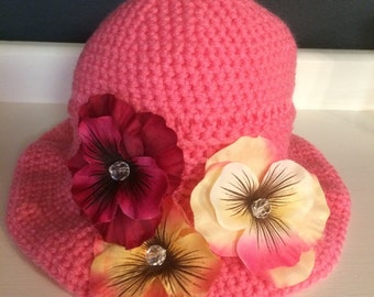 Perky Hot Pink Sun Hat with Silk Flowers