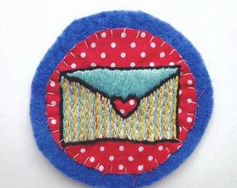 Love Envelope Patch on Blue