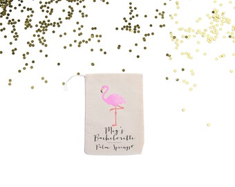 Flamingo {set of 10} Personalized Party Favor Bags  //Palm Springs Bachelorette // Miami // San Diego