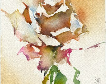 Watercolor rose painting - rose watercolor original - rose print