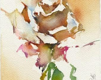 Print from watercolor rose painting - rose watercolor - rose print