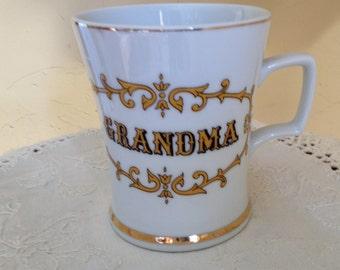 Vintage  Grandma Ceramic Mug Gold Lettering -- Knobler Japan