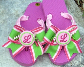 CHILDREN'S FLIP FLOPS, Hot Trax Stripe Bows & Pink Swiss Dot Straps, Personalize, Initial or Name, Birthday Gift, For A Spa Party! Flats