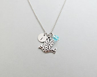 Dove Initial Necklace Personalized Hand Stamped - with Silver Dove Charm and Swarovski