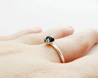 Black Tourmalinated Rutile Quartz 925 Sterling Silver Ring - Stacking Ring