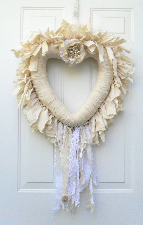 Large Heart Wall Decor : Large heart wreath shabby chic wall hanging