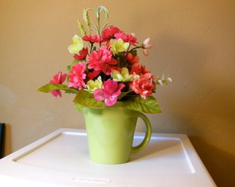 Coffee Mug-Floral Arrangement-Gift for Her-Just Because-Friend-Thinking of You-Birthday-Anniversary-Co Worker-Get Well-Green-Pink-Cheer