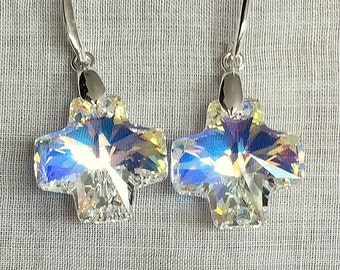 Swarovski Crystal Square Cross Earrings