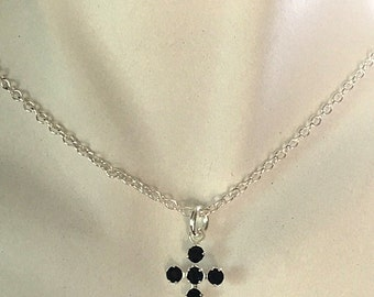 Swarovski Black Crystal Cross With Sterling Silver Chain