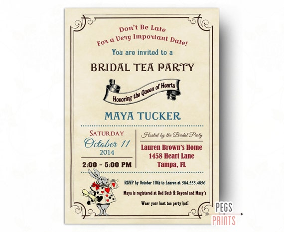 Vintage mad hatter bridal shower invitation printable queen of il570xn filmwisefo