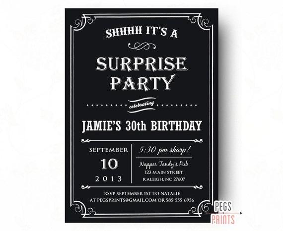 Adult surprise birthday invitation black surprise party invitation il570xn filmwisefo
