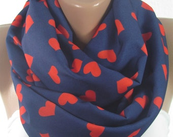 Heart Scarf Infinity Scarf Red Hearts Scarf Love Scarf Mothers Day Valentines Gift For Her Christmas Gift for Mom Grandmother Sister Wife
