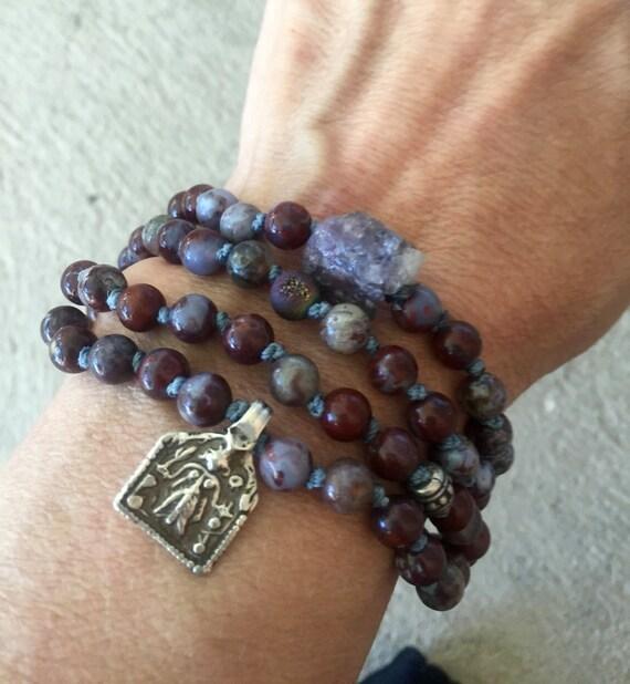 108 Root Chakra Mala - Red Lightning Agate Mala - Rajasthan Lakshmi Charm - Tanzanite Mala - Goddess Beads - Spiritual Gift - Yoga Jewelry