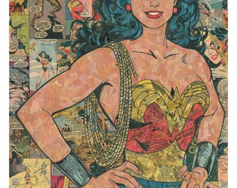 Wonder Woman Comic Collage - giclee print