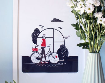 Bike x Girl / Hand Made Screenprint