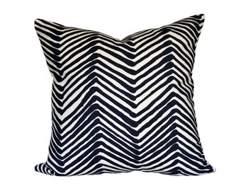 Zig Zag Navy on Tint by Alan Campbell for Quadrille - Made to Order - Choose Your Size