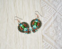 Bohemian beaded macrame earrings, dangle earrings, boho chic, beadwoven, beadwork, macrame jewelry, micro macrame, green brown teal mint