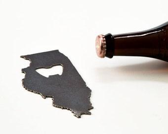 Wedding Gift  Illinois Steel Bottle Opener - Travel Souvenir, Groomsmen Gift, Wedding Favor, Christmas Gift