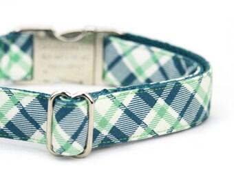 Teal Green Plaid Dog Collar Tartan Dog Collar with Metal Buckle - Franklin