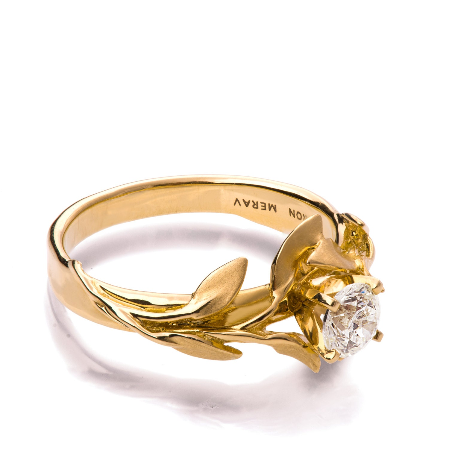leaves engagement ring no 4 18k yellow gold and diamond