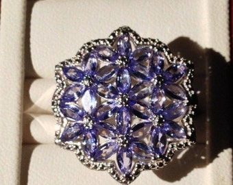 ON SALE - Flower Tanzanite Sterling Silver Ring