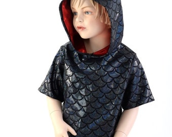Childrens Black Dragon Scale Short Sleeve Hoodie with Red Sparkly Spikes  & Hood LIner Kids Sizes  2T 3T 4T and 5-12   153946